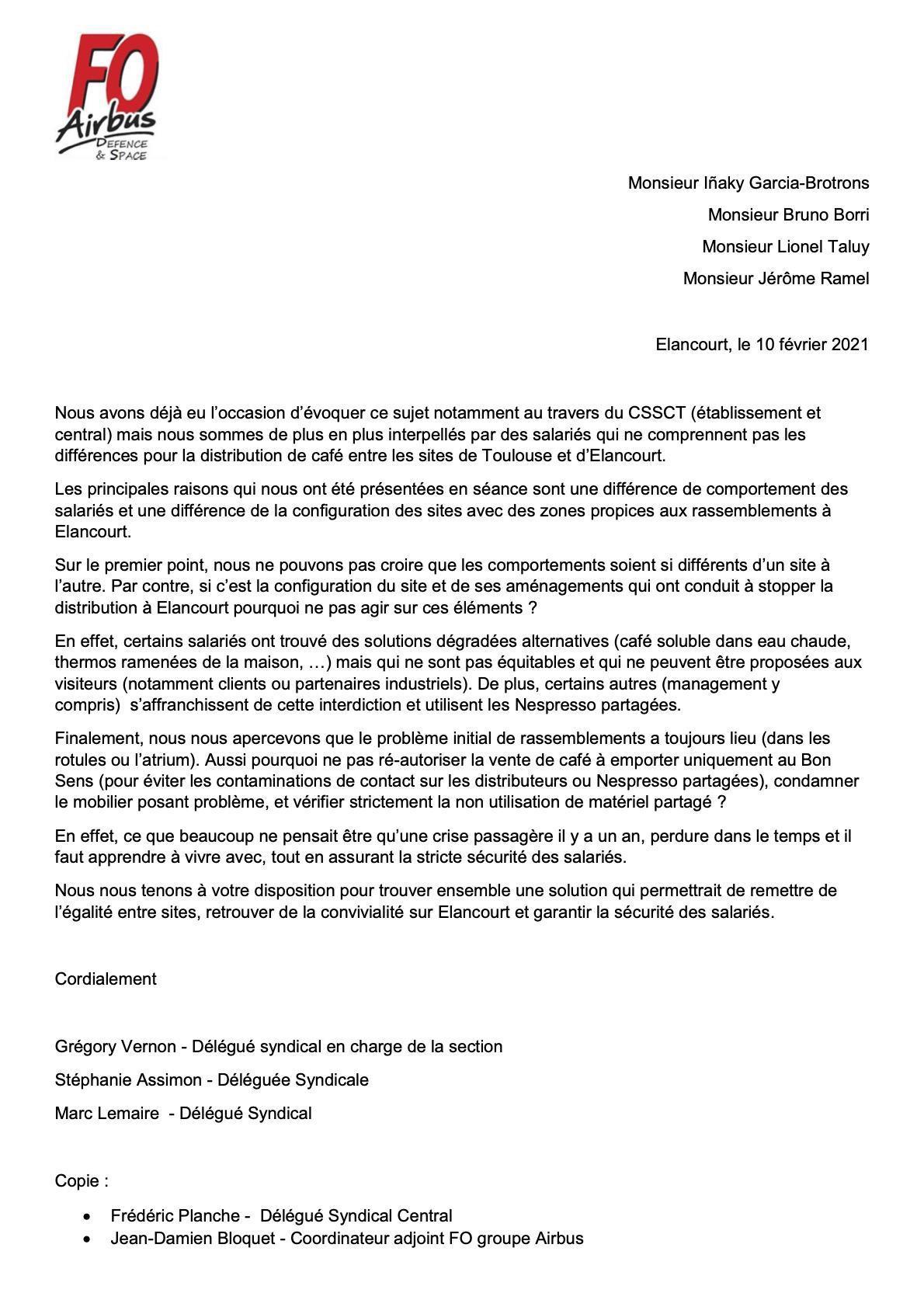 Du Café sur les sites parisiens - notre demande à la Direction