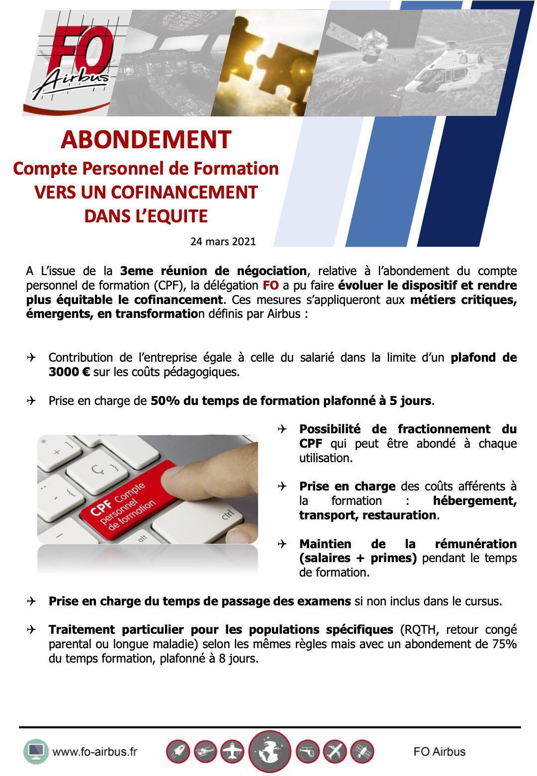 CPF : co-financé par Airbus 3e réunion