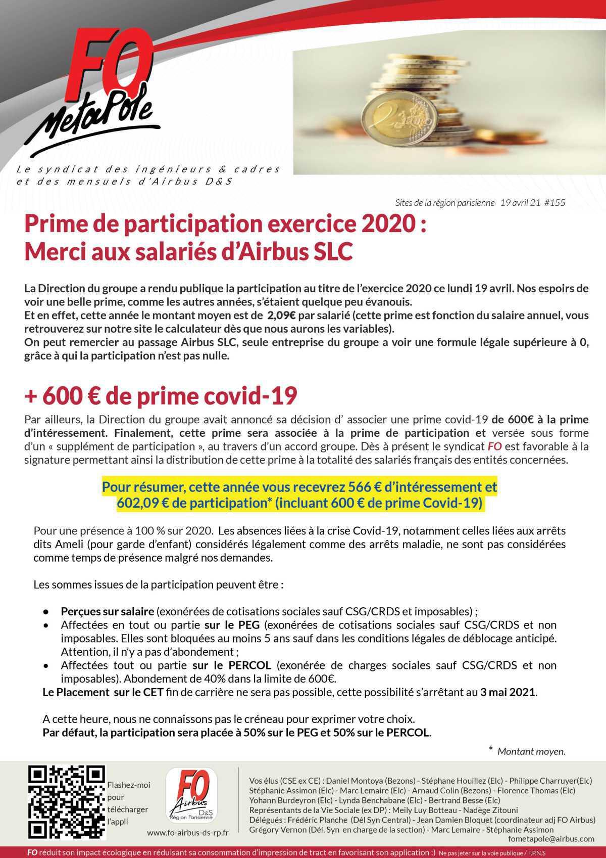 Prime de participation exercice 2020
