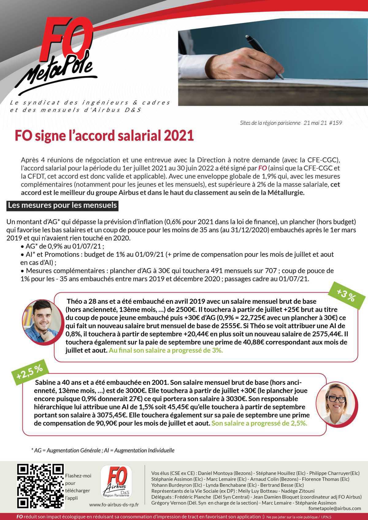 FO signe la politique salariale 2021 - 5 cas pour vous l'expliquer