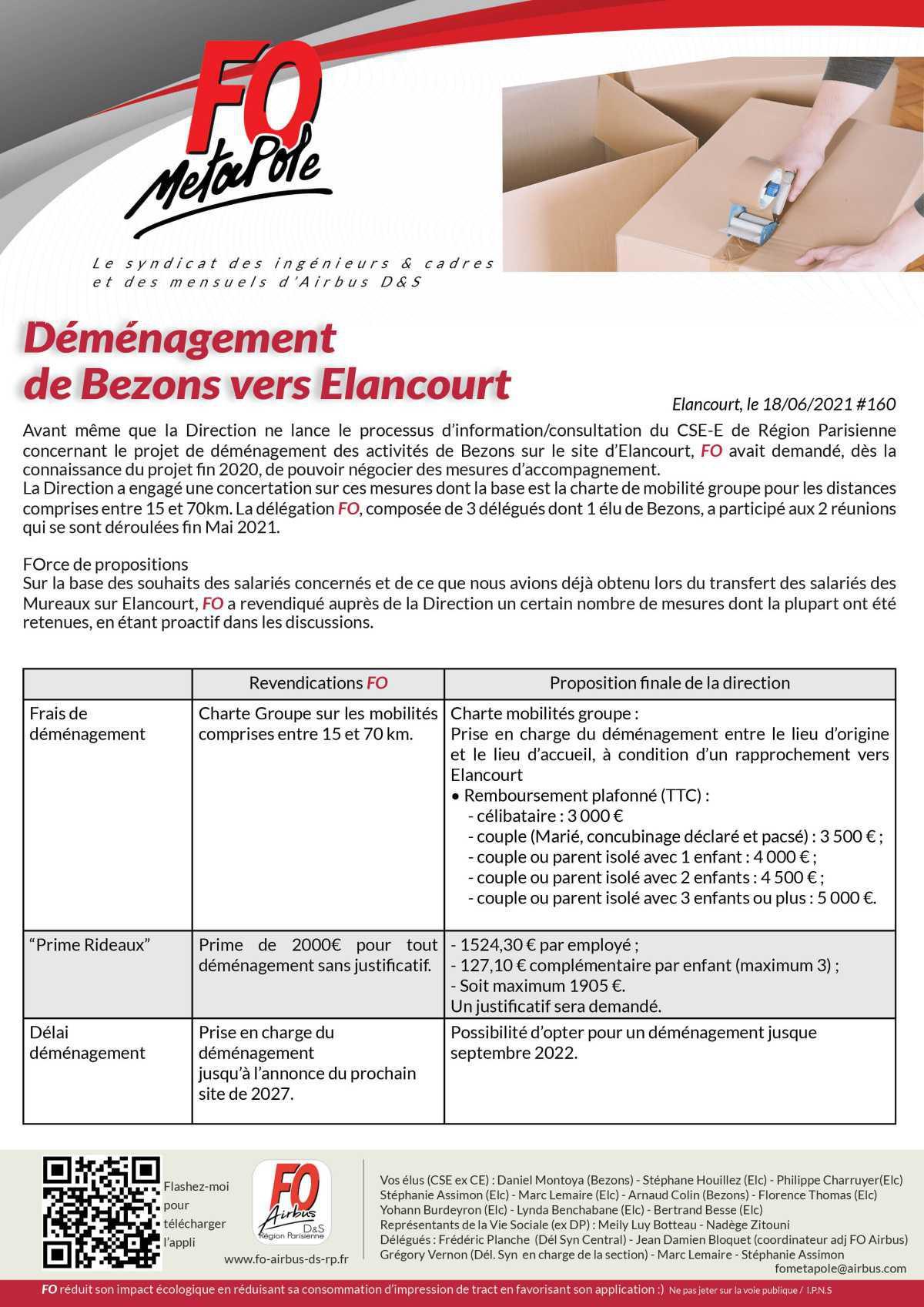 Déménagement de Bezons vers Elancourt