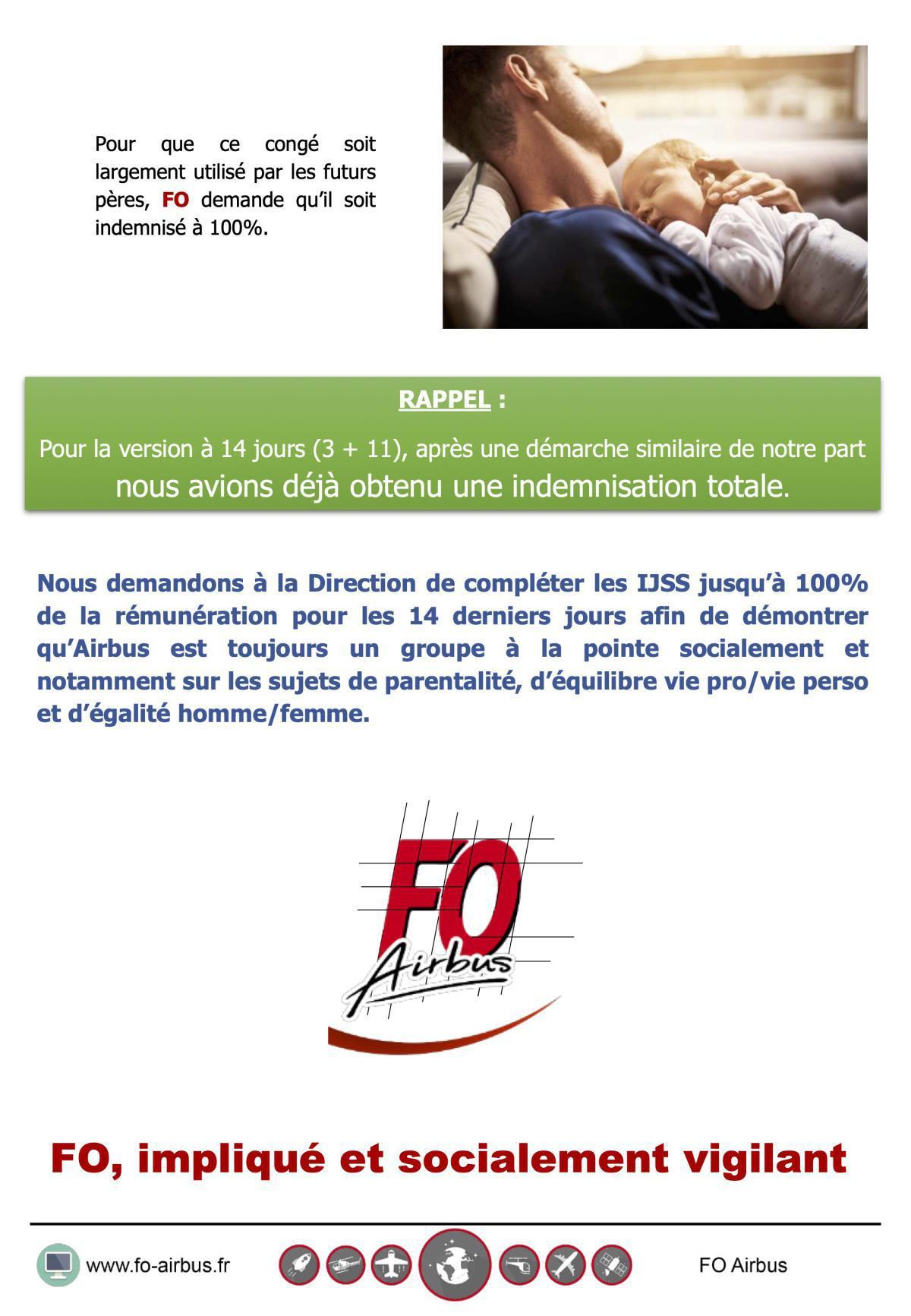 Congé Paternité : FO revendique une indemnisation à 100%
