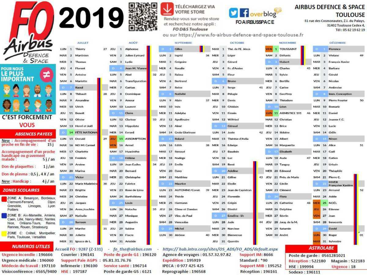 Votre calendrier FO 2019