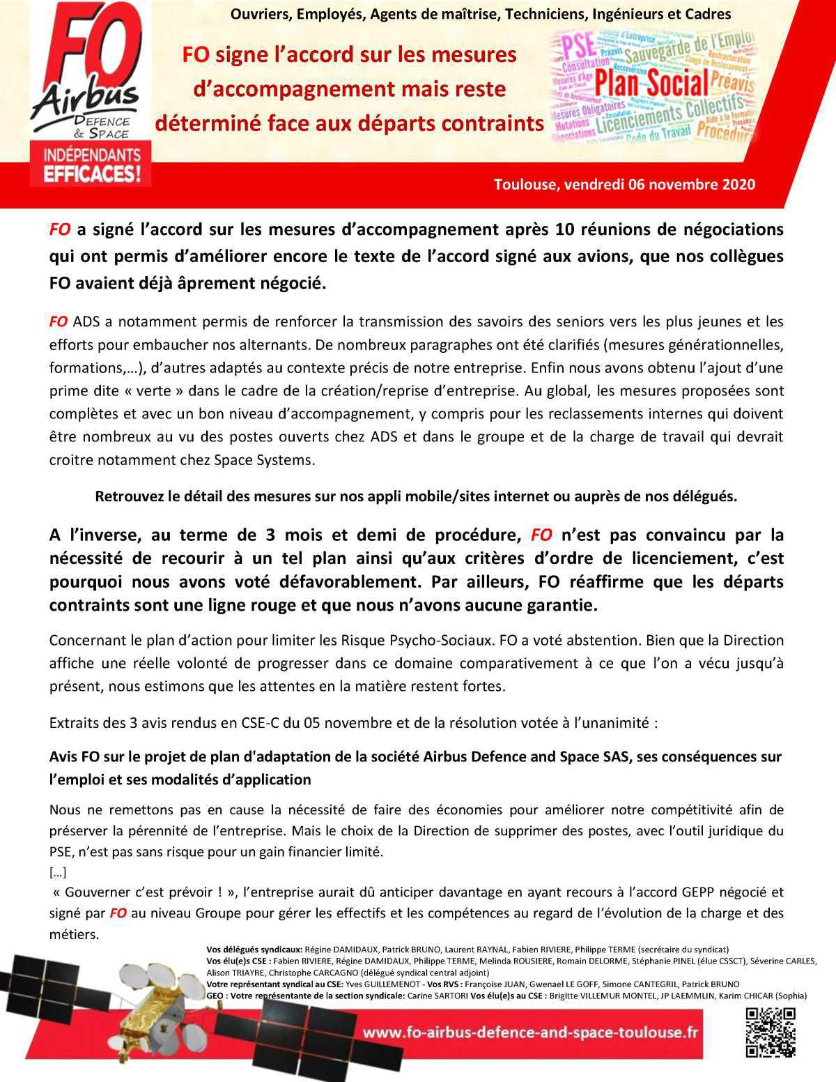 PSE ADS : FO signe l'accord sur les mesures d'accompagnement mais reste déterminé face aux départs contraints