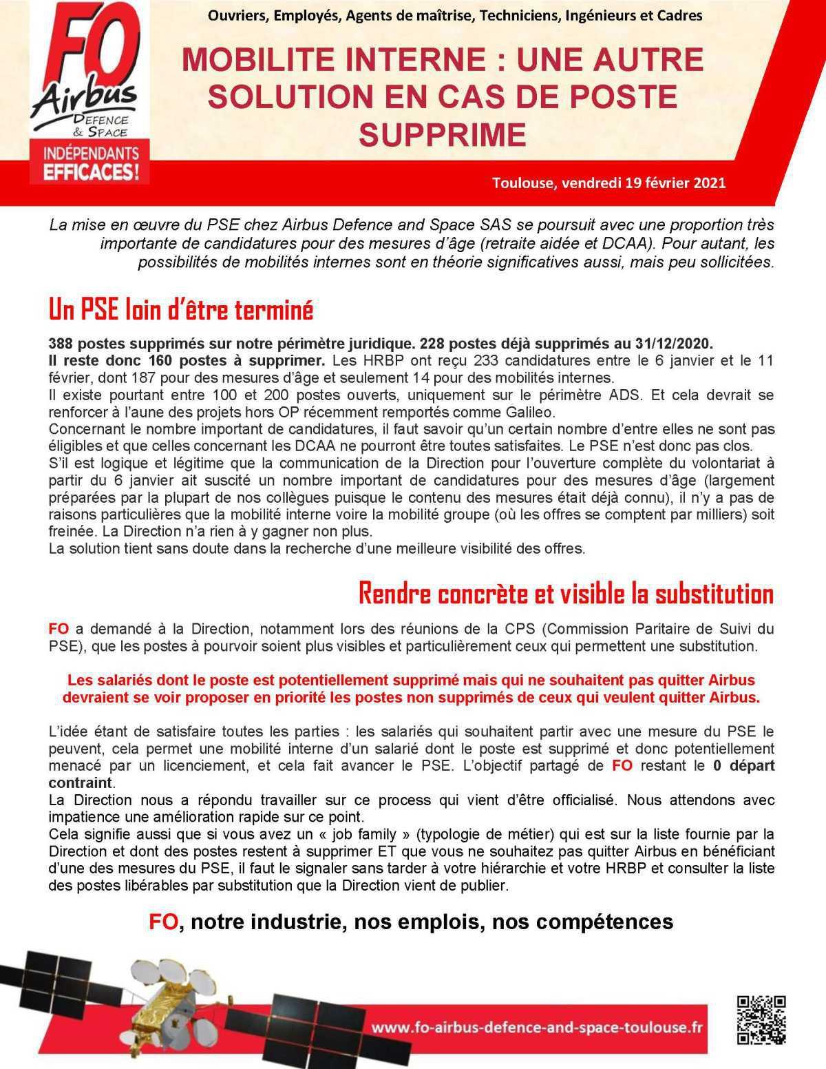 MOBILITE INTERNE : UNE AUTRE SOLUTION EN CAS DE POSTE SUPPRIME