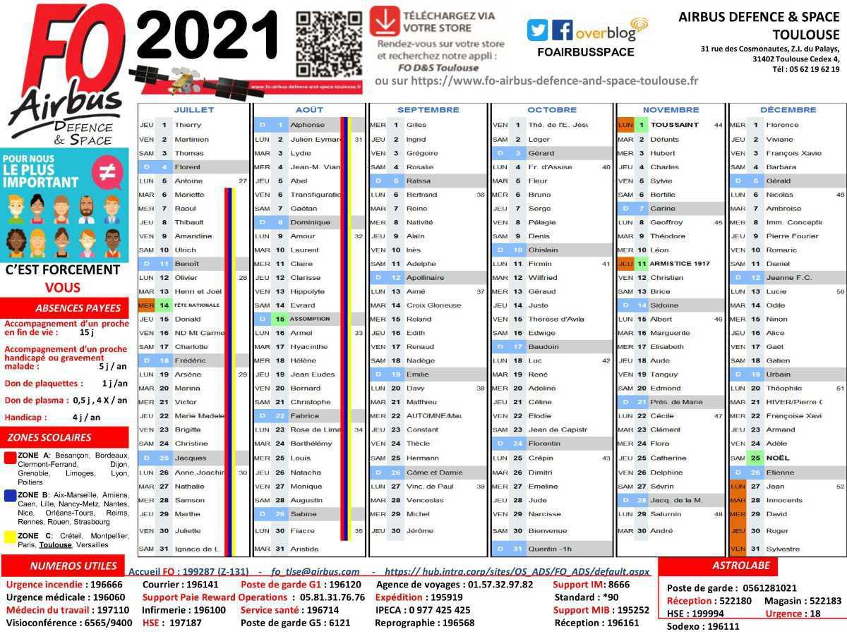 Votre calendrier FO 2021