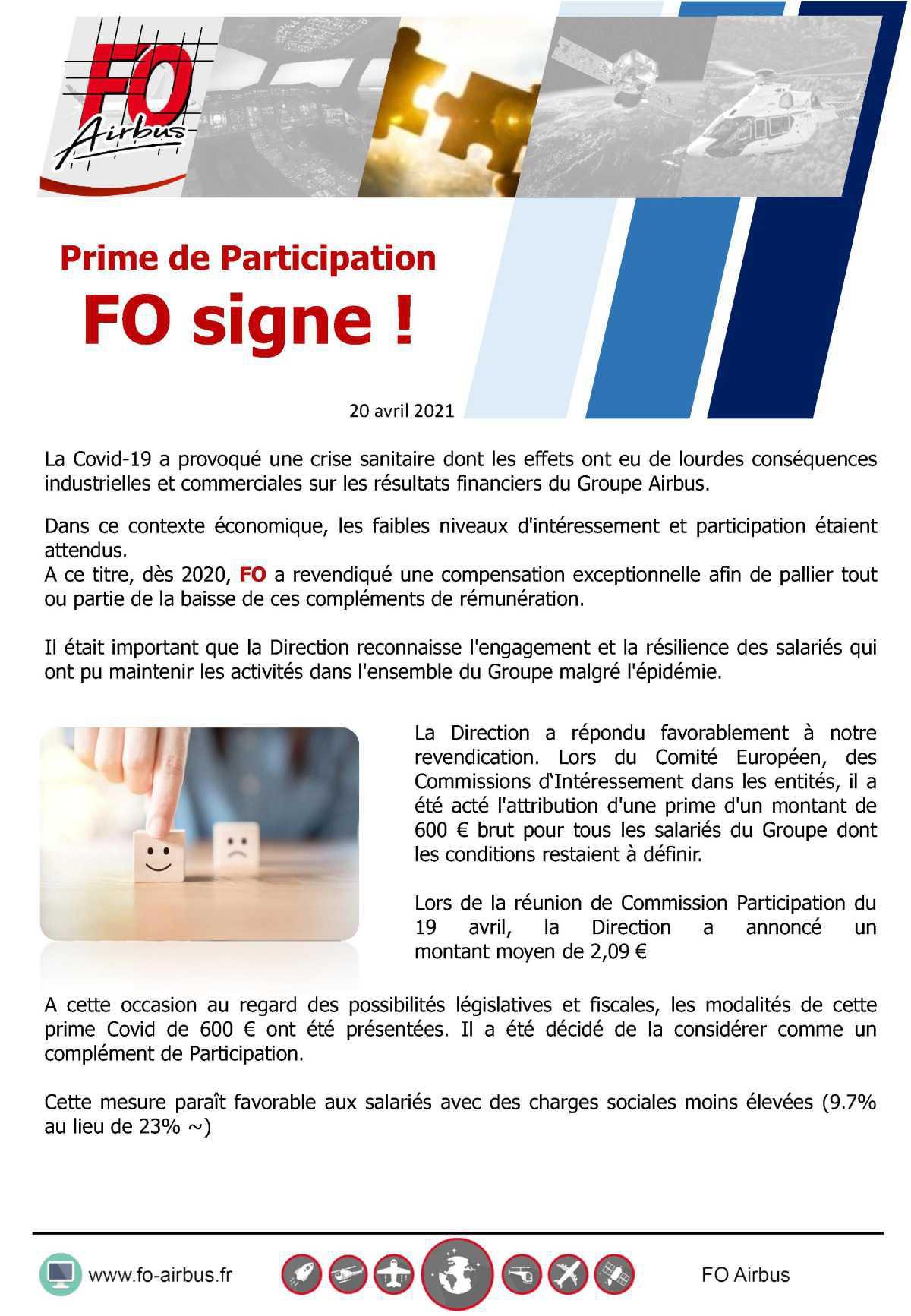 Prime de participation: FO signe l'avenant