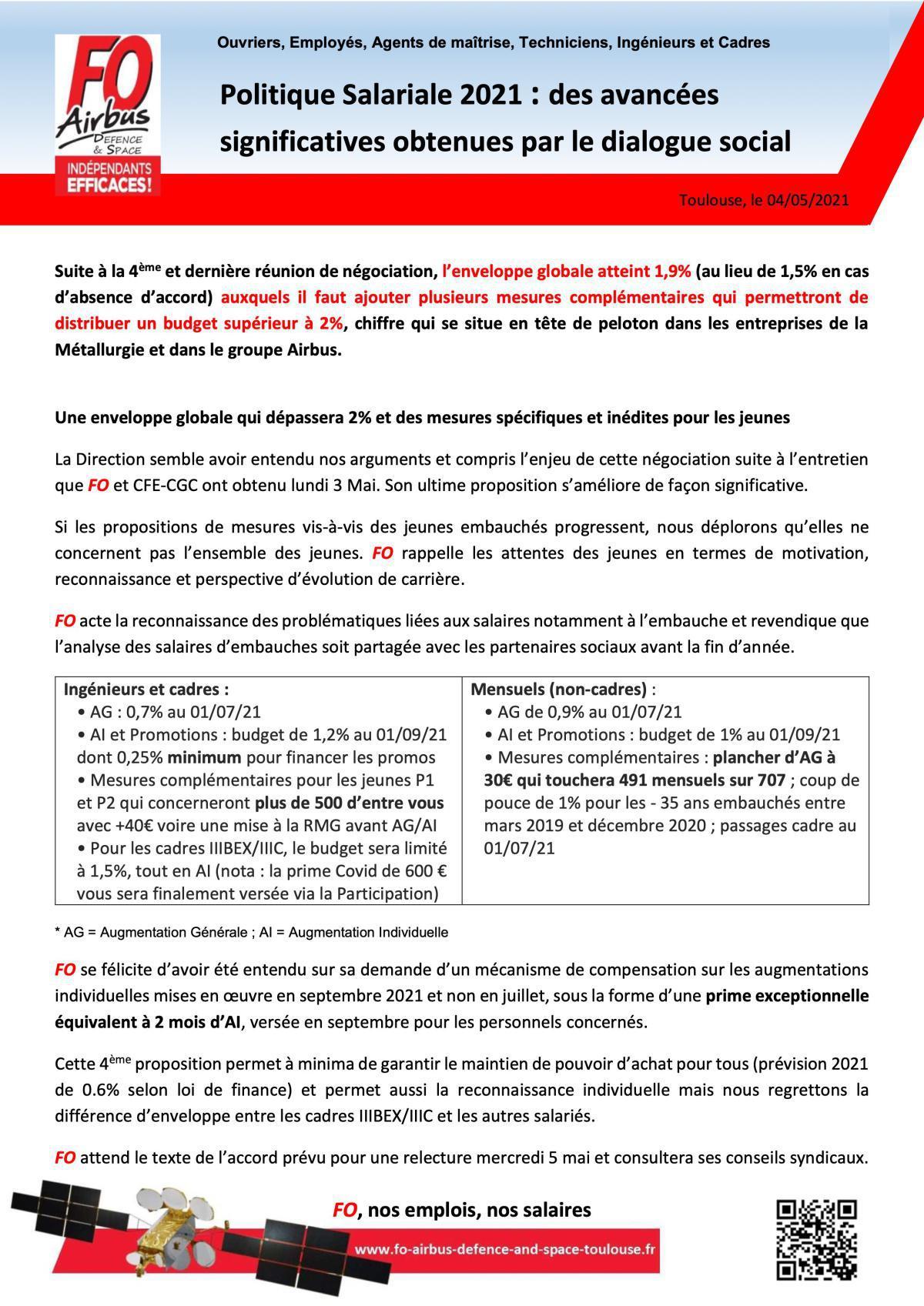 Politique Salariale 2021 : des avancées significatives obtenues par le dialogue social