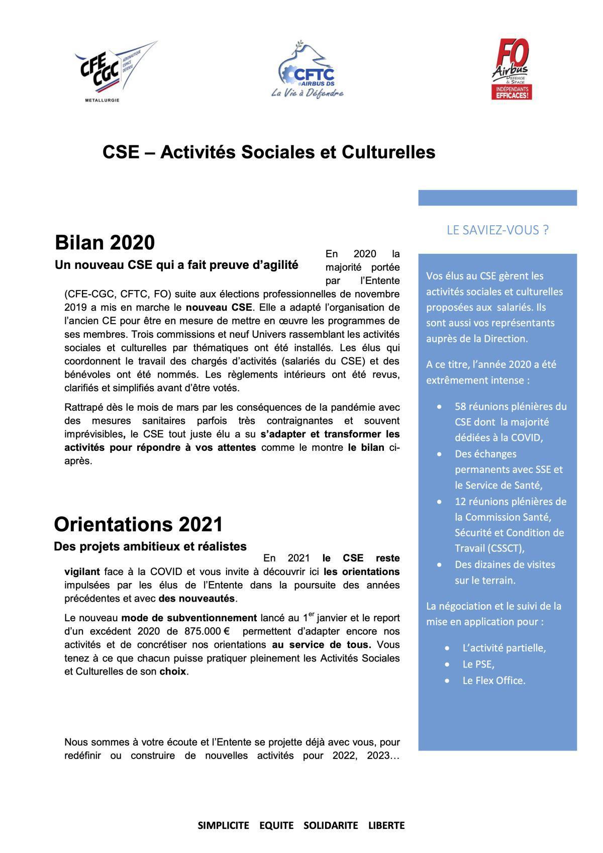 CSE – Activités Sociales et Culturelles