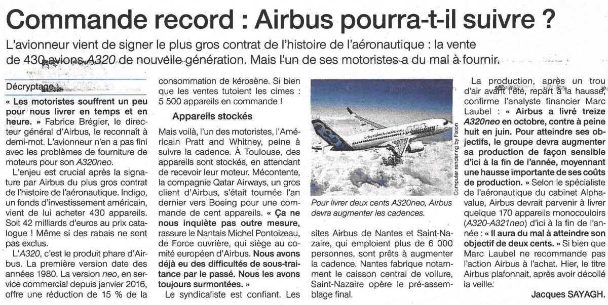 Commande record : Airbus pourra-t-il suivre ?