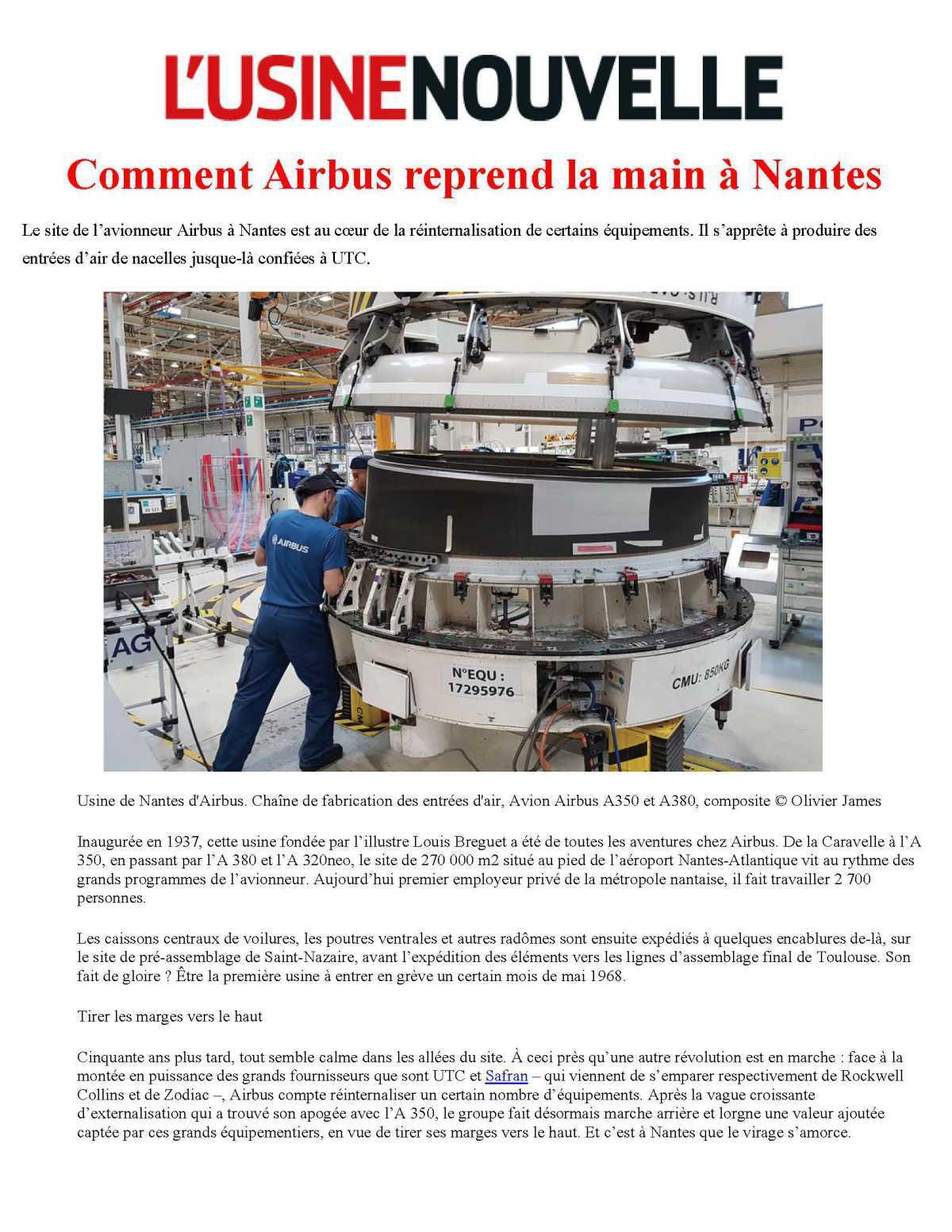 L'USINENOUVELLE : Comment Airbus reprend la main à Nantes