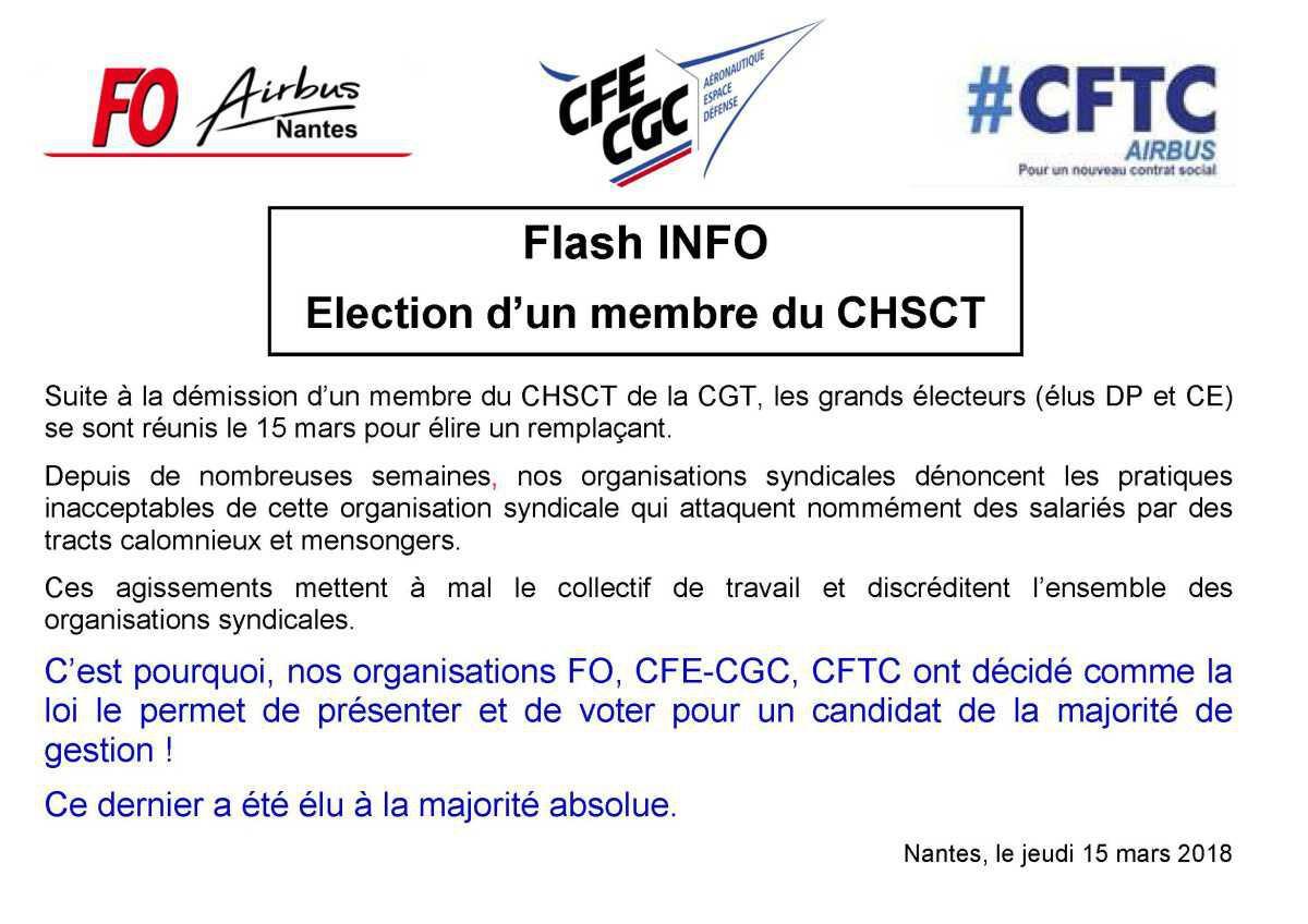 Flash : Election d'un membre du CHSCT