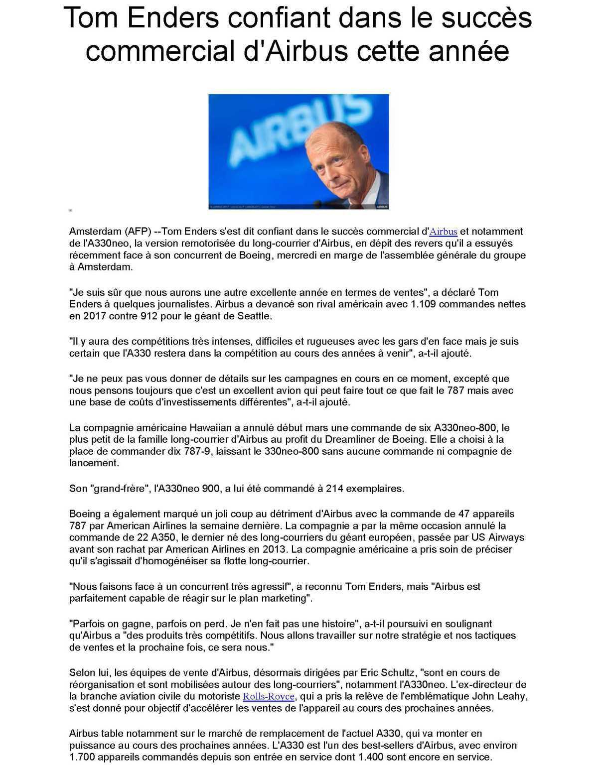 Tom Enders confiant dans le succès commercial d'Airbus cette année