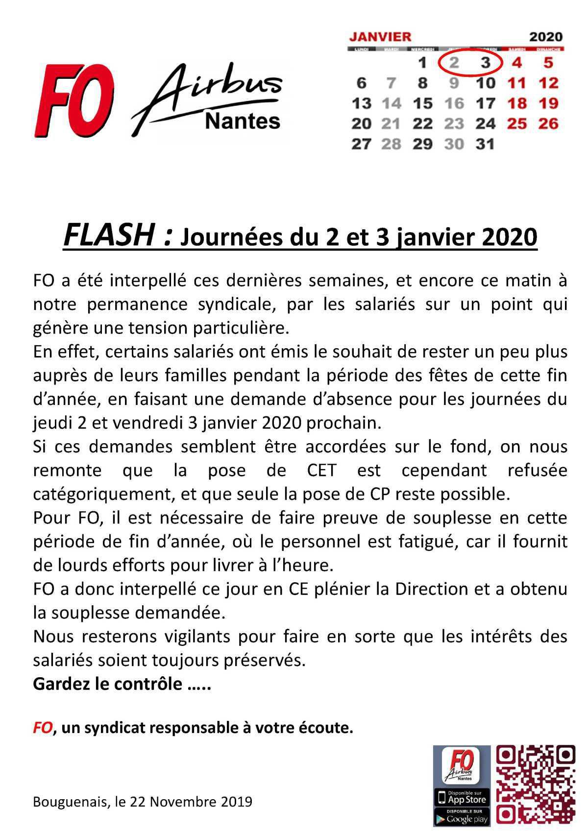FLASH : Journées du 2 et 3 janvier.