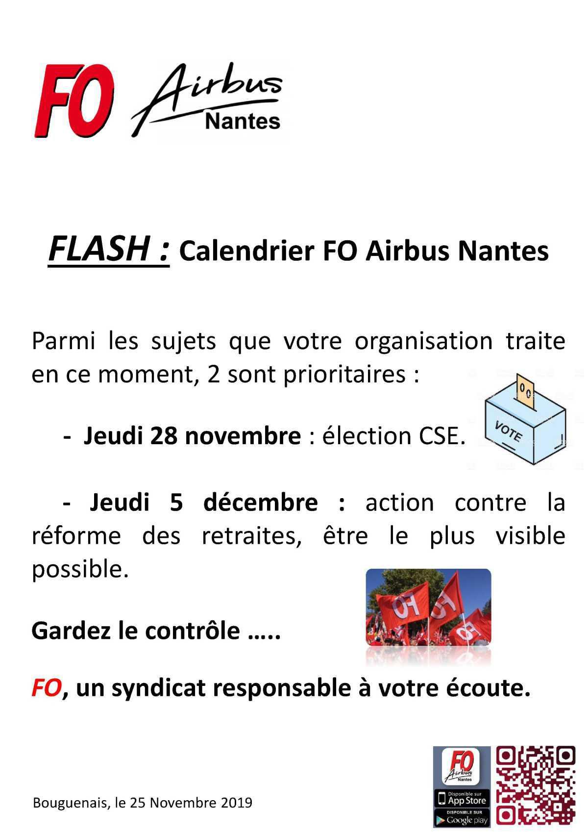 FLASH : Calendrier FO Airbus Nantes.