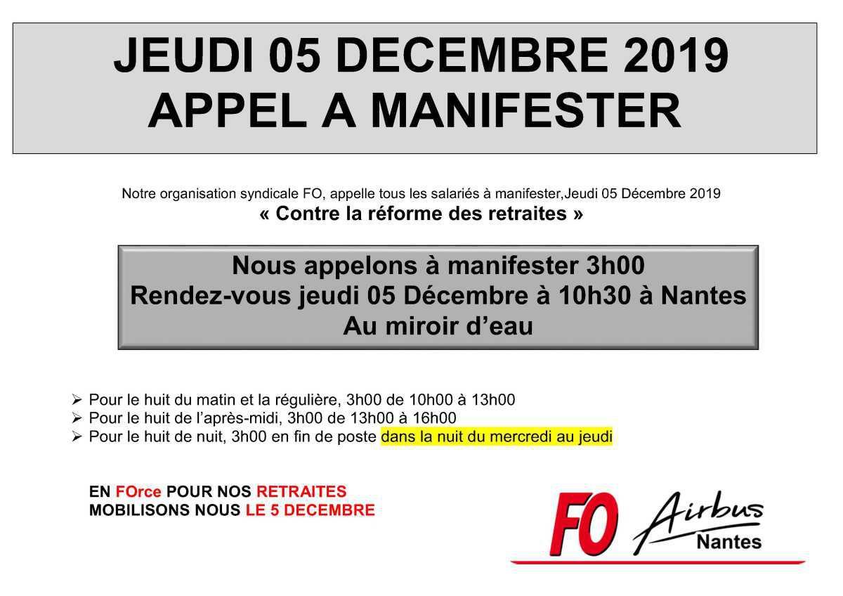 Appel à manifester le 05 Décembre 2019