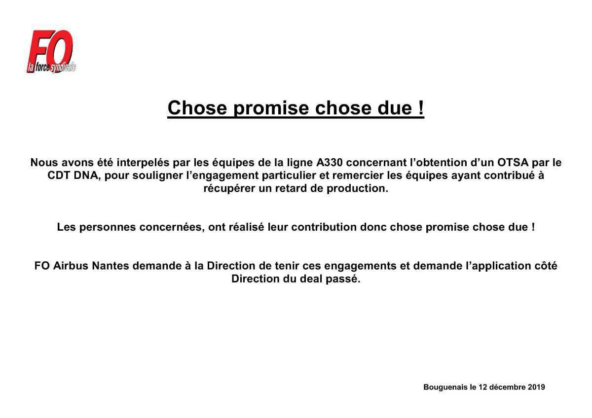 Chose promise, chose due !