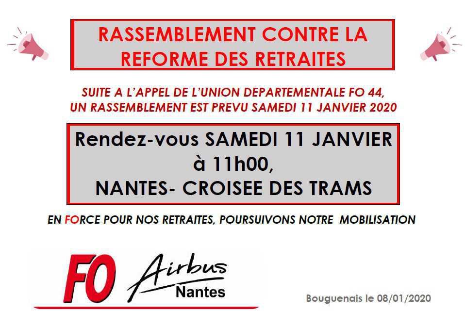 Rassemblement du 11 Janvier contre la réforme des retraites