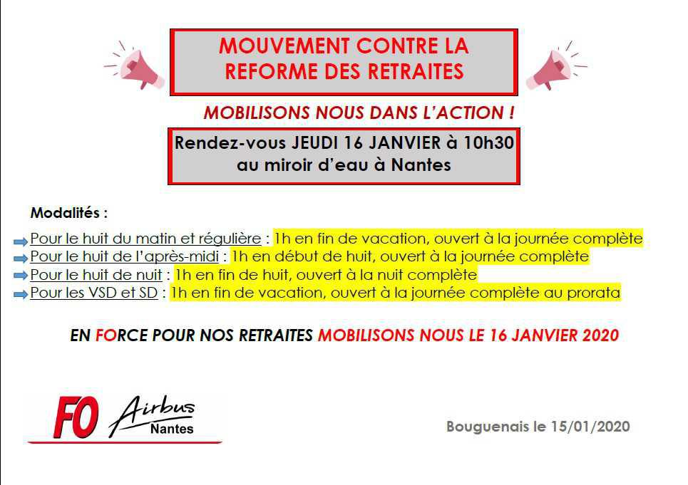 Mouvement contre la réforme des retraites du 16 Janvier