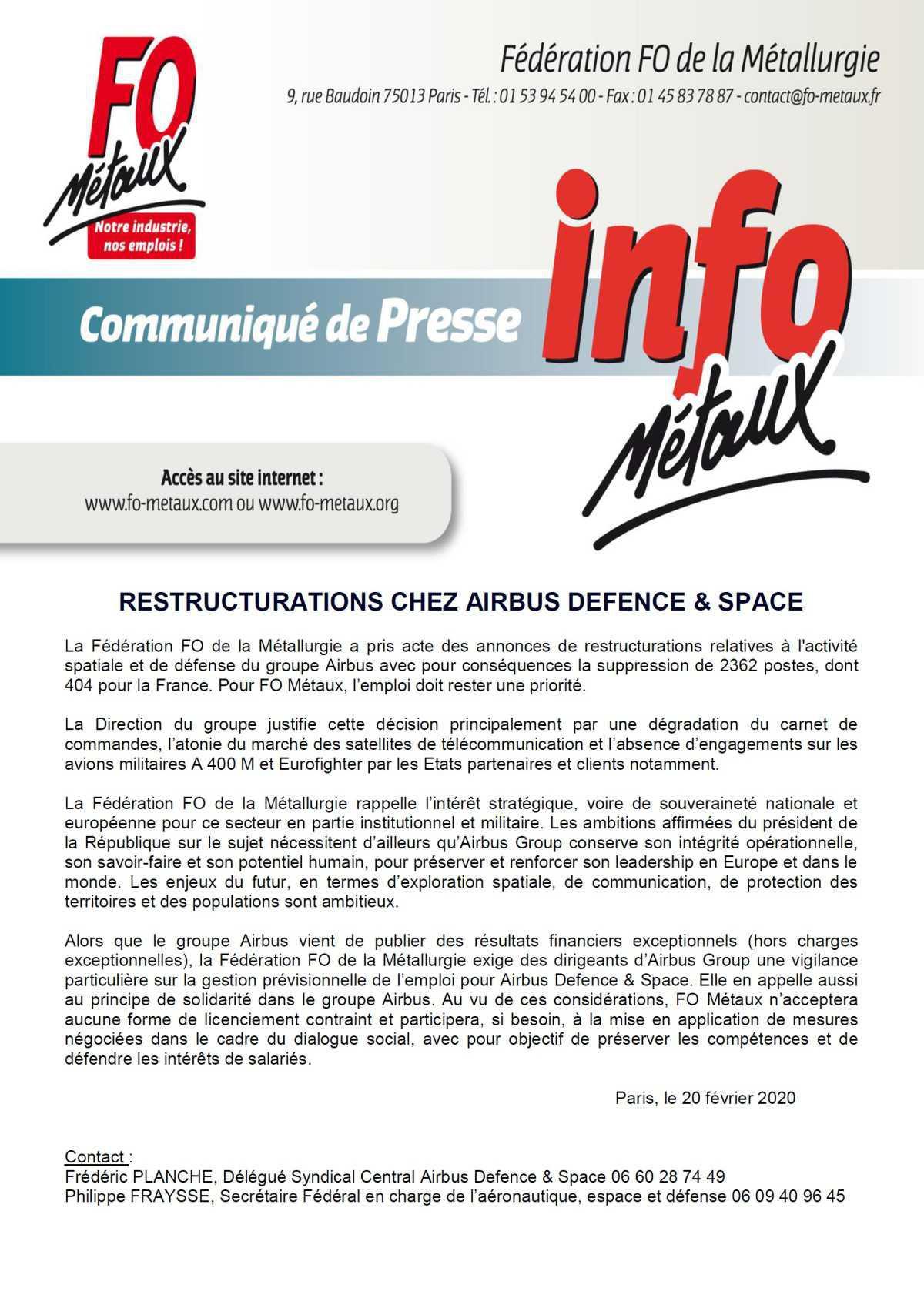 Communiqué de presse sur la restructuration de Airbus Defence&Space