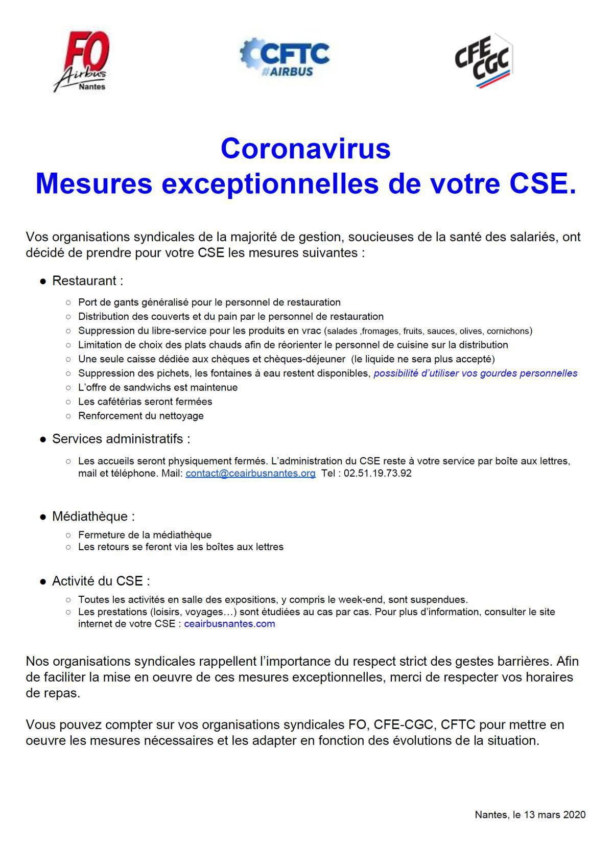Mesures exceptionnelles de votre CSE