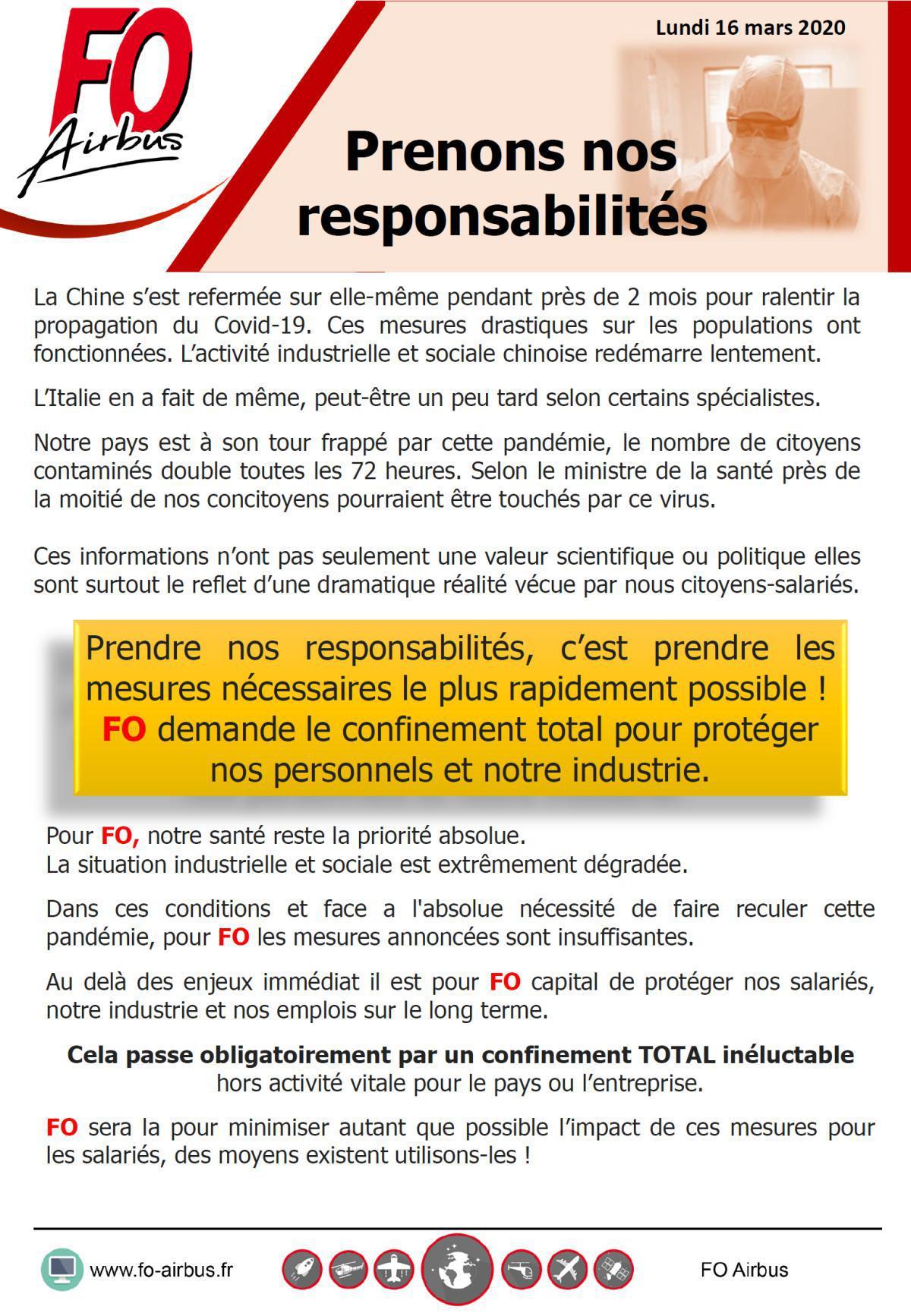 Force Ouvrière demande le confinement total pour protéger les salariés et notre industrie