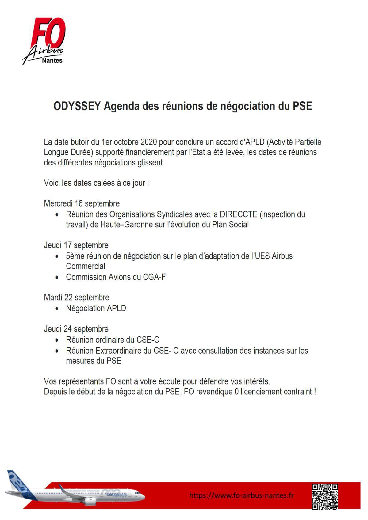 Agenda des réunions de négociation du PSE