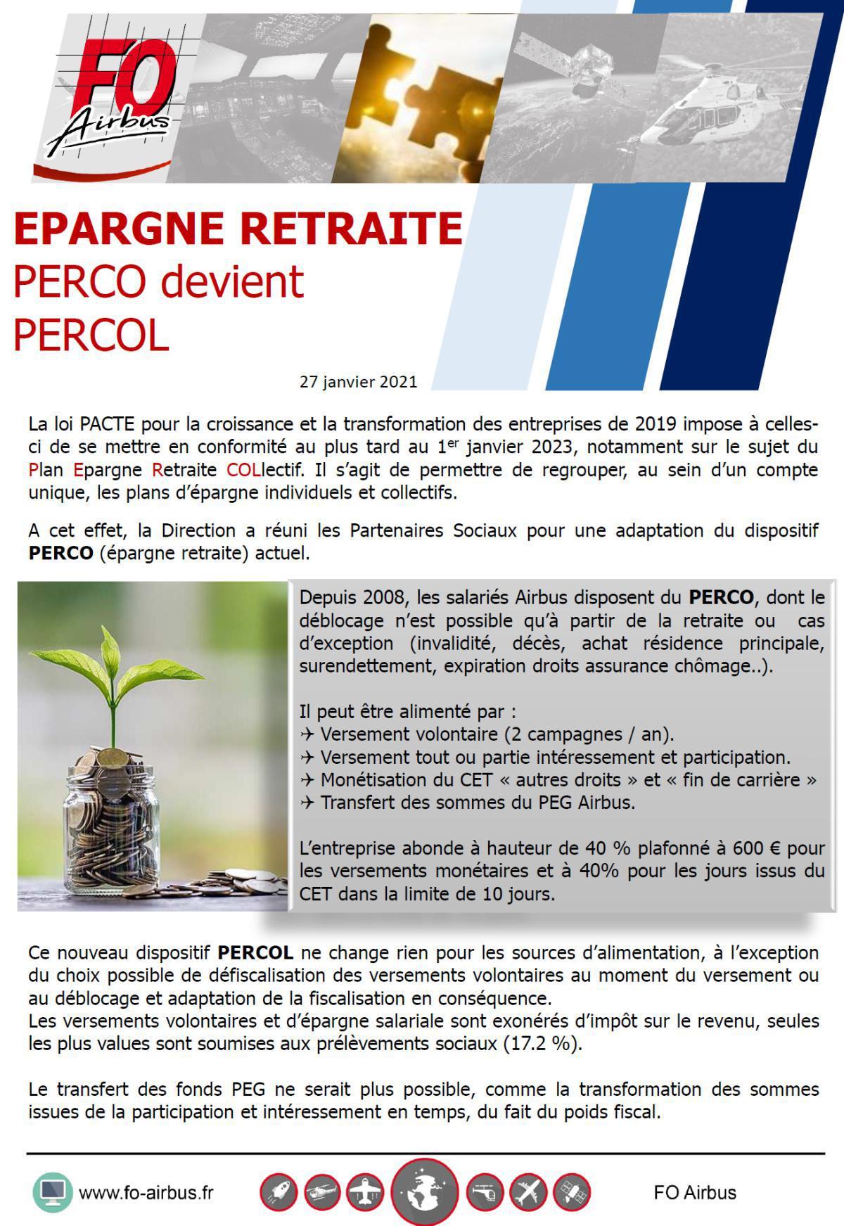 Epargne retraite PERCO devient PERCOL