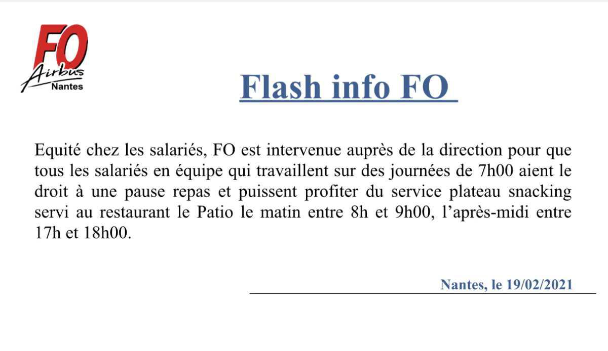 Flash info FO : pause repas