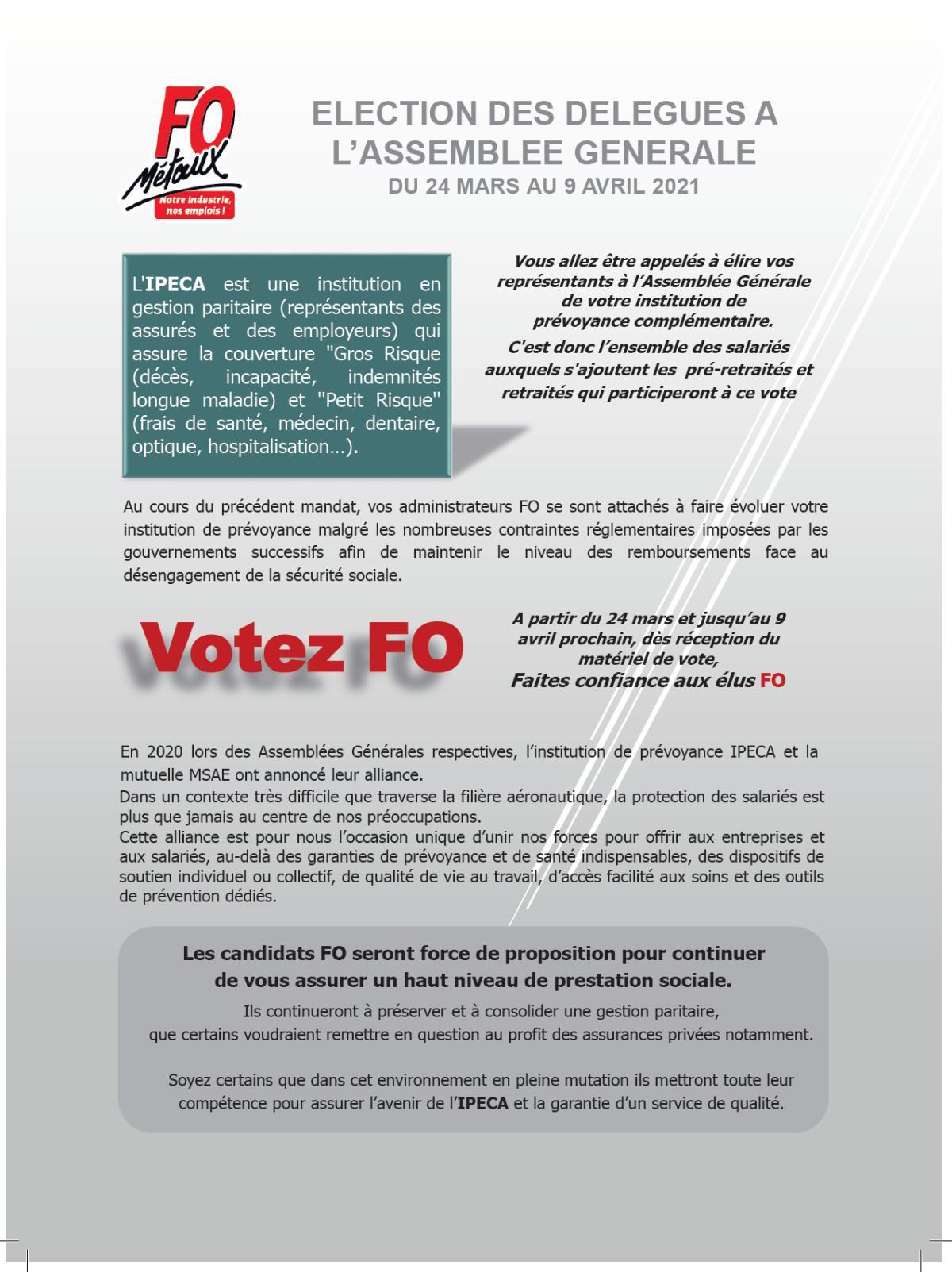Liste des candidats pour l'élection des délégués à l'assemblée générale et la procédure pour voter