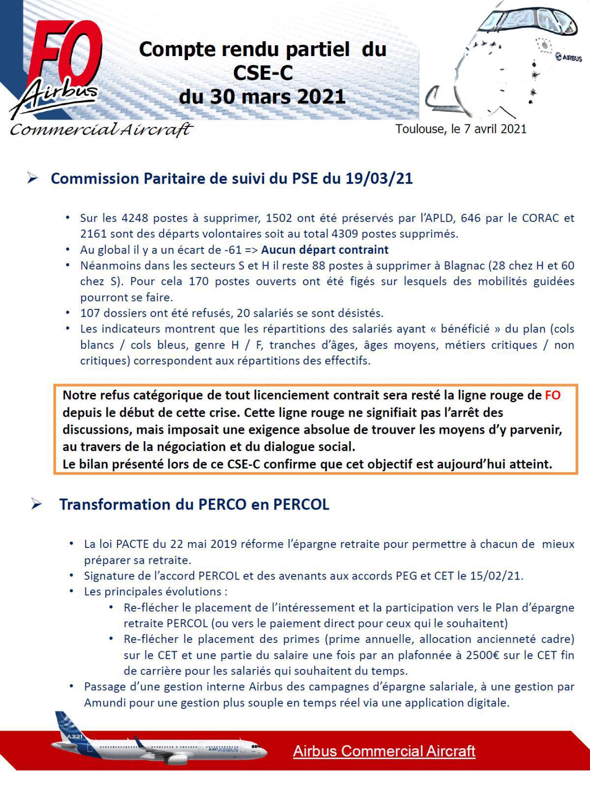 Compte rendu partiel du CSE-C du 30 mars 2021