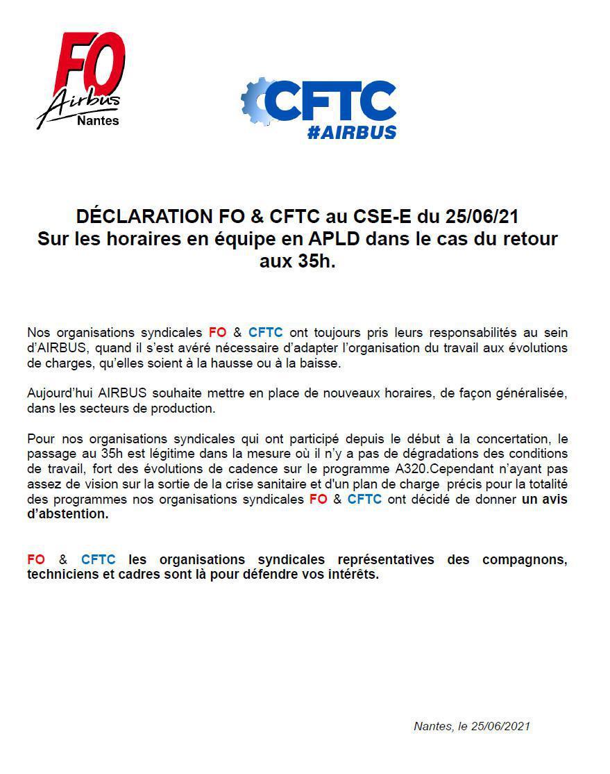 Déclaration FO & CFTC au CSE-E du 25/06/21 sur les horaires en équipe