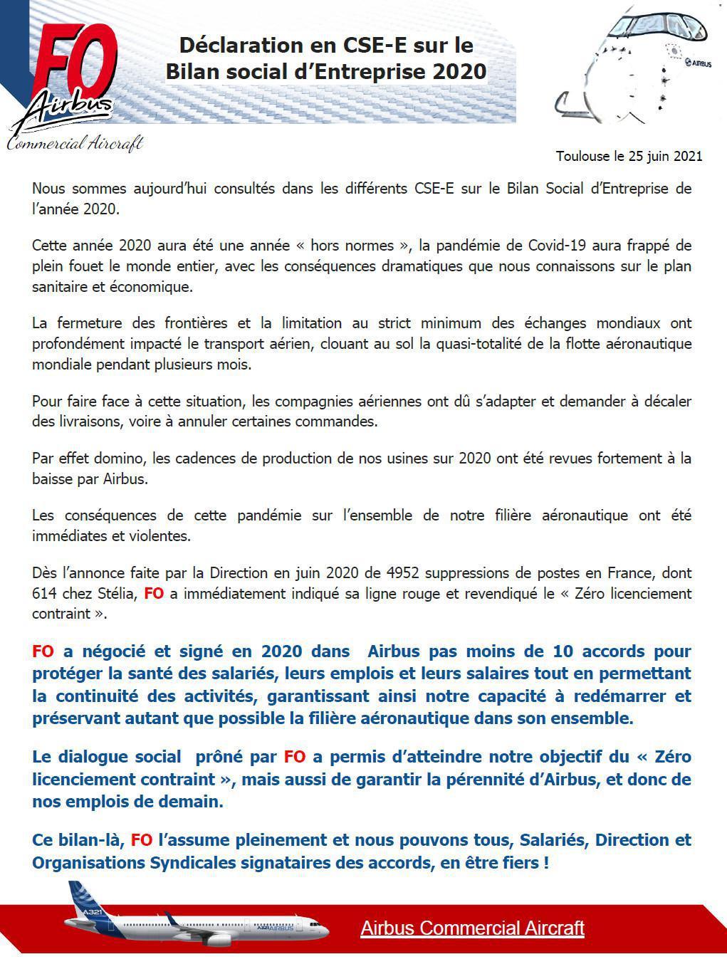 Déclaration en CSE-E sur le Bilan social d'Entreprise 2020