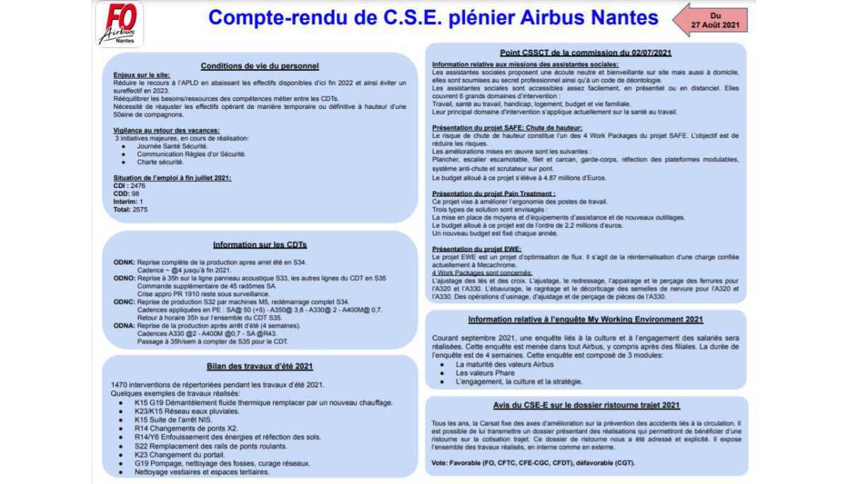Compte-rendu de C.S.E. plénier Airbus Nantes du 27/08/2021