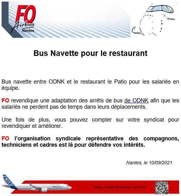 Bus navette pour restaurant