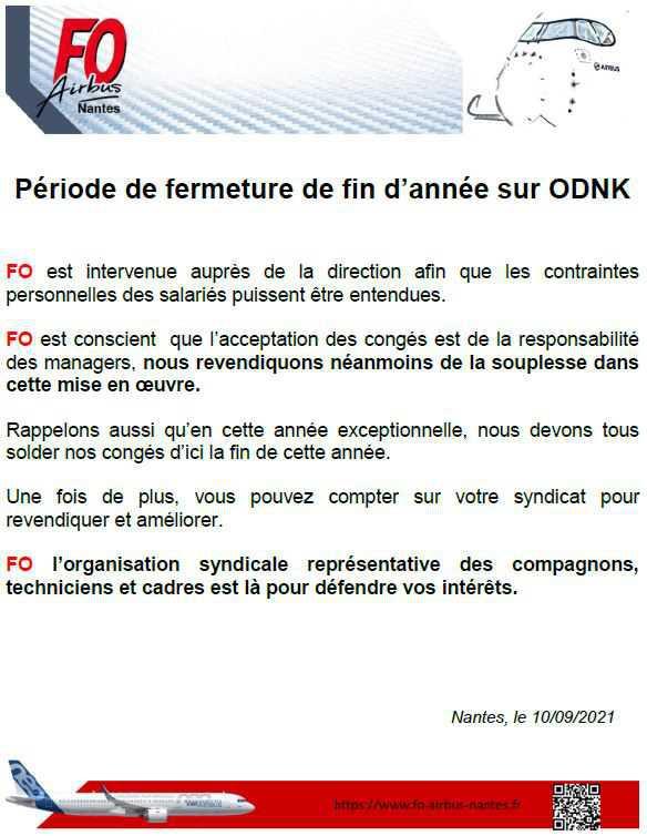 Fermeture de fin d'année sur ODNK