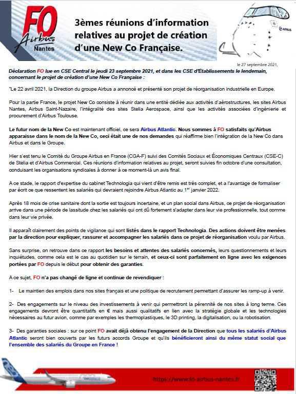 3èmes réunions d'information relatives au projet de création d'une New Co Française.