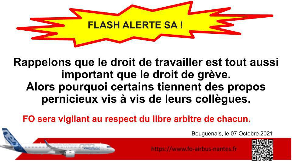 FLASH ALERTE SA !