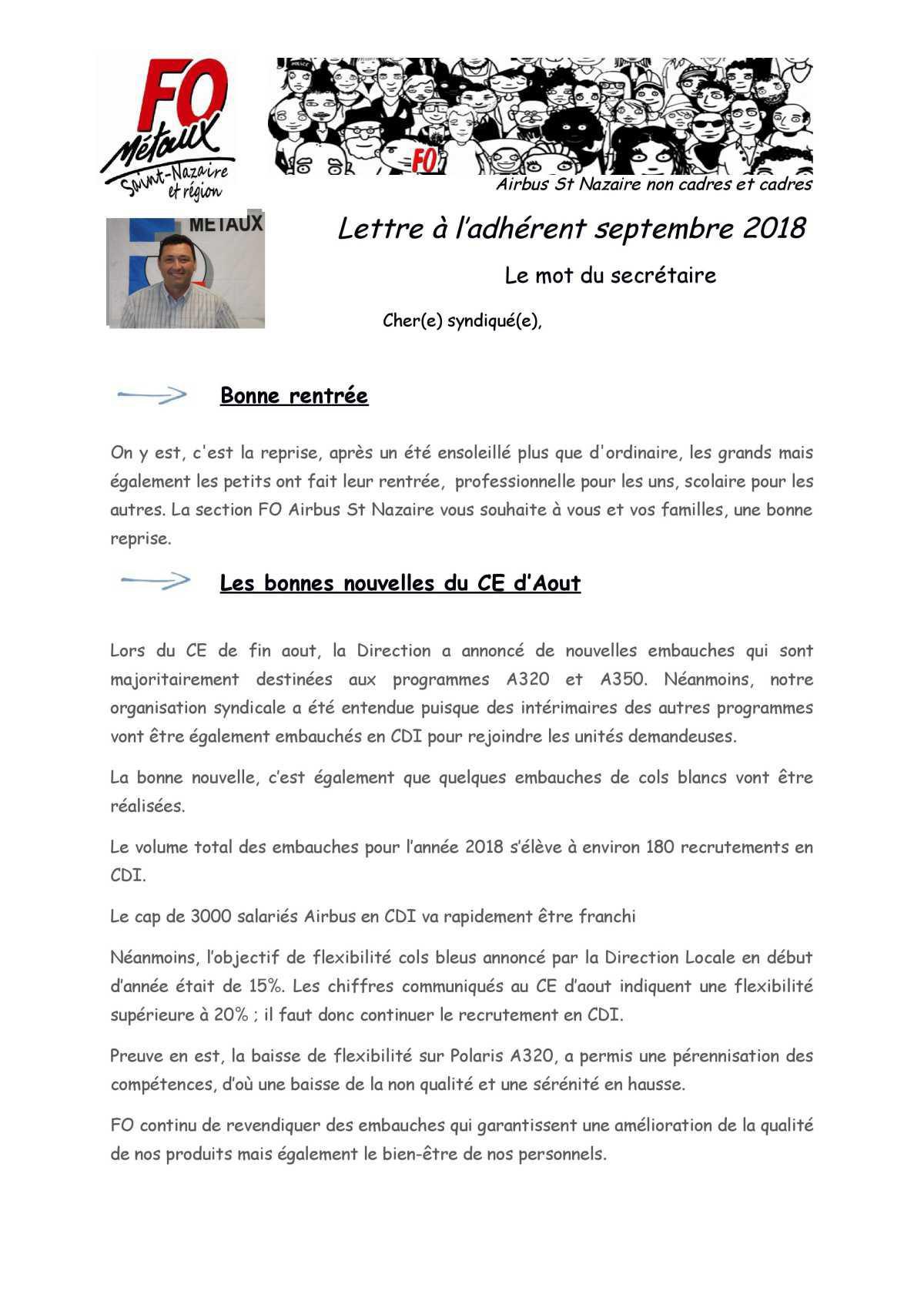 Lettre à l'adhérent septembre 2018