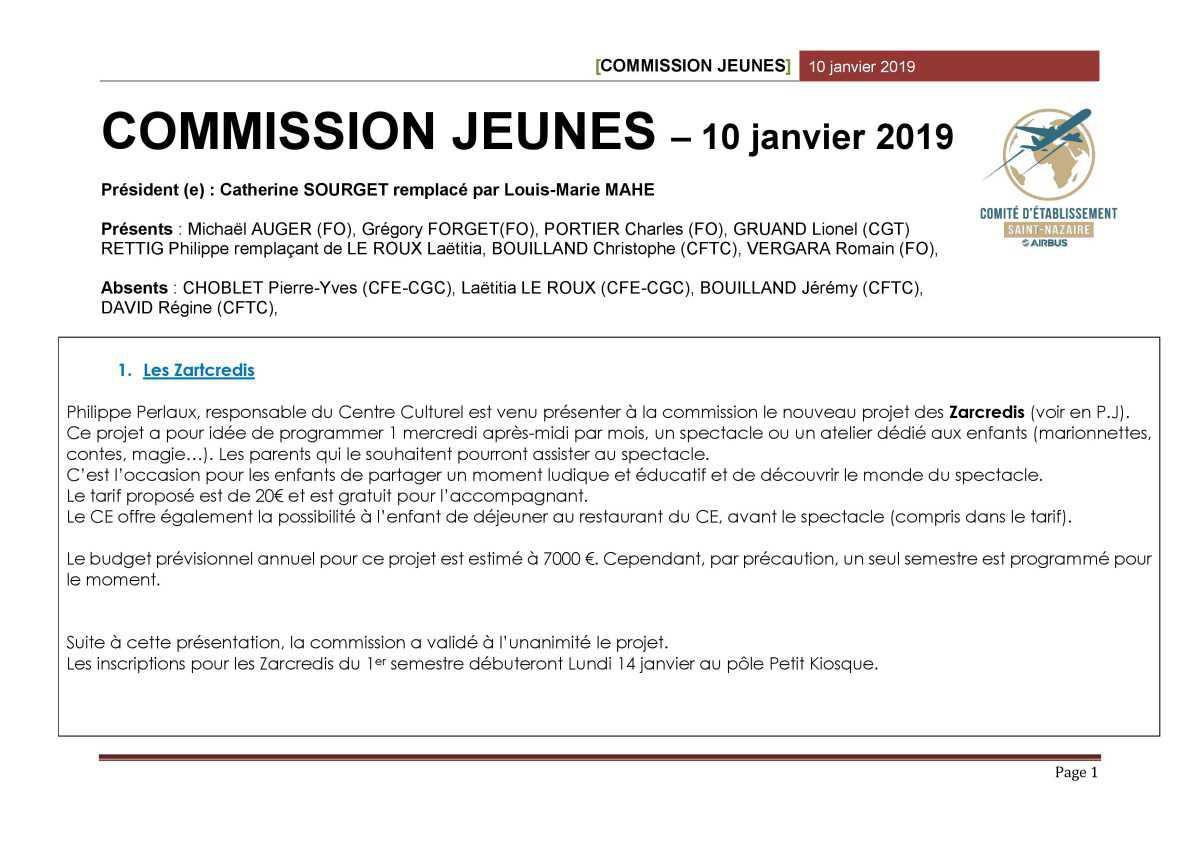 Compte rendu de la commission jeune du mois de janvier 2019
