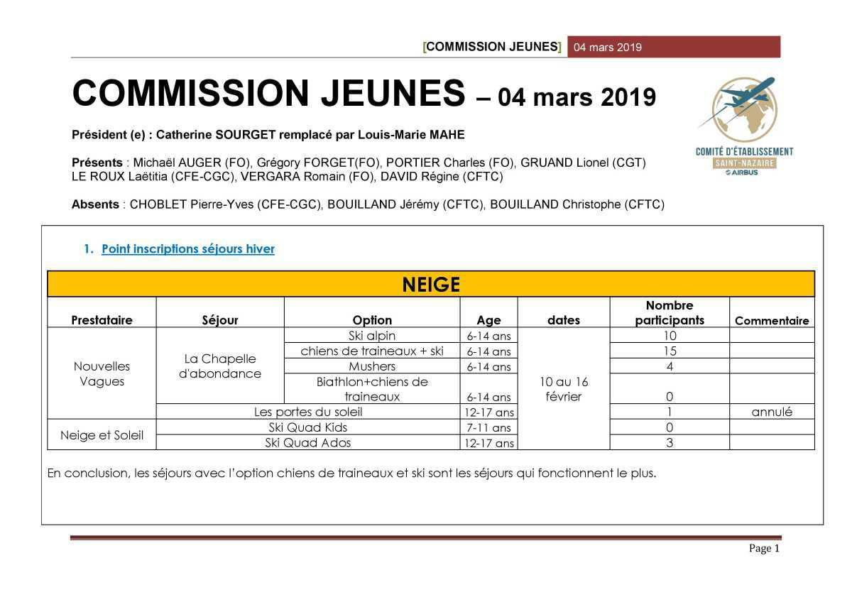 Compte rendu de la commission jeunes du mois de mars 2019