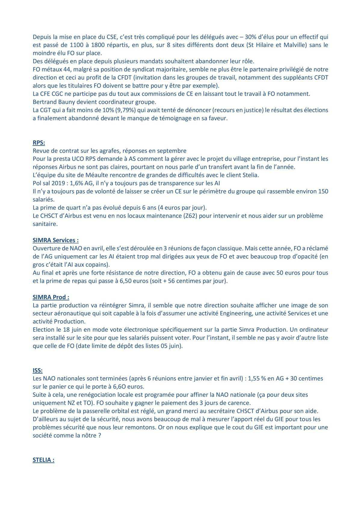 Coordination partenaires industriels du 14 mai 2019