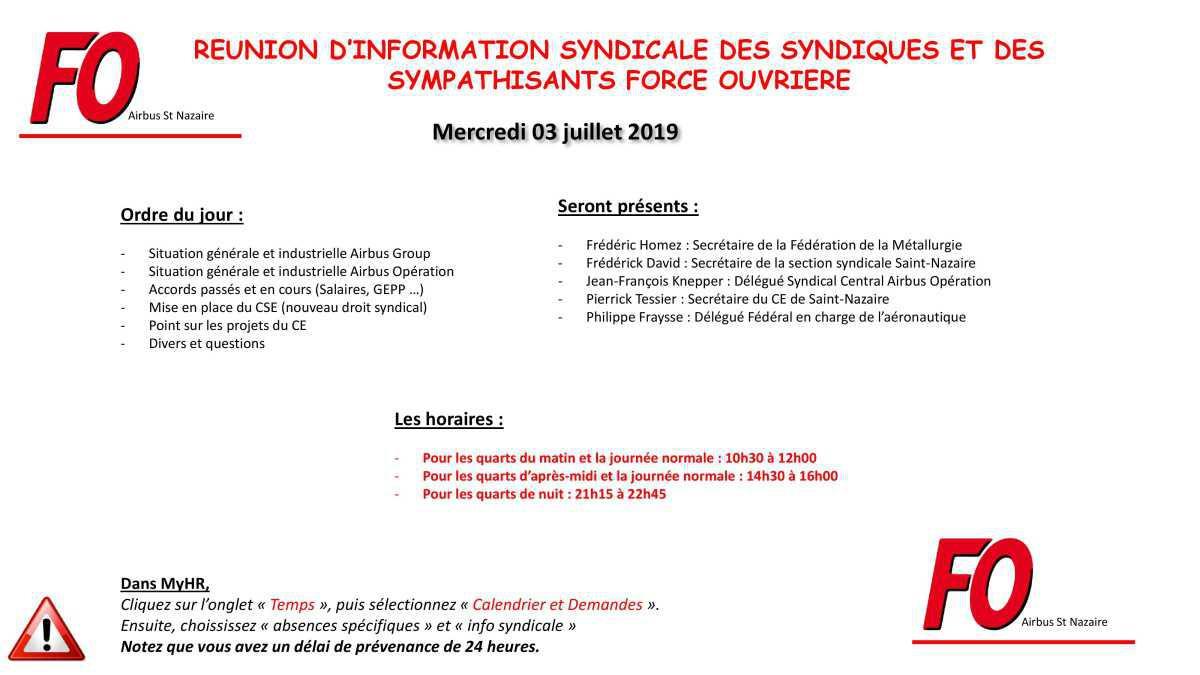 Réunion d'information Syndicale mercredi 3 juillet