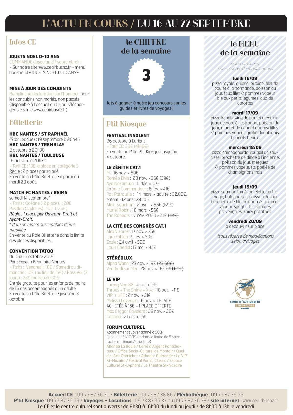 Infos CE / COOP Semaine 38
