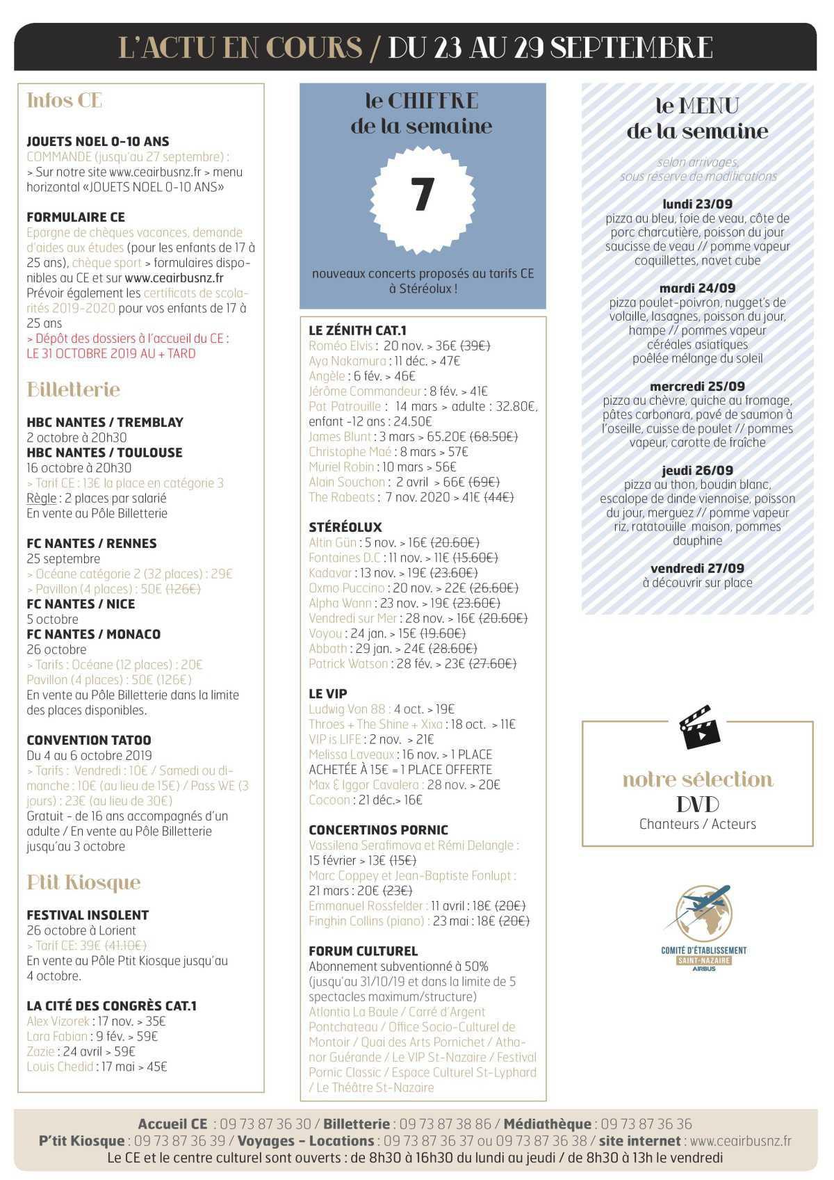 Infos CE et COOP semaine 39