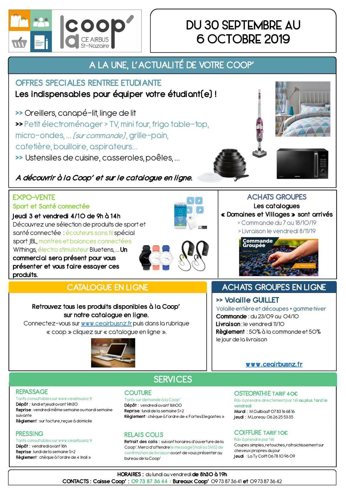 Infos CE / COOP semaine 40