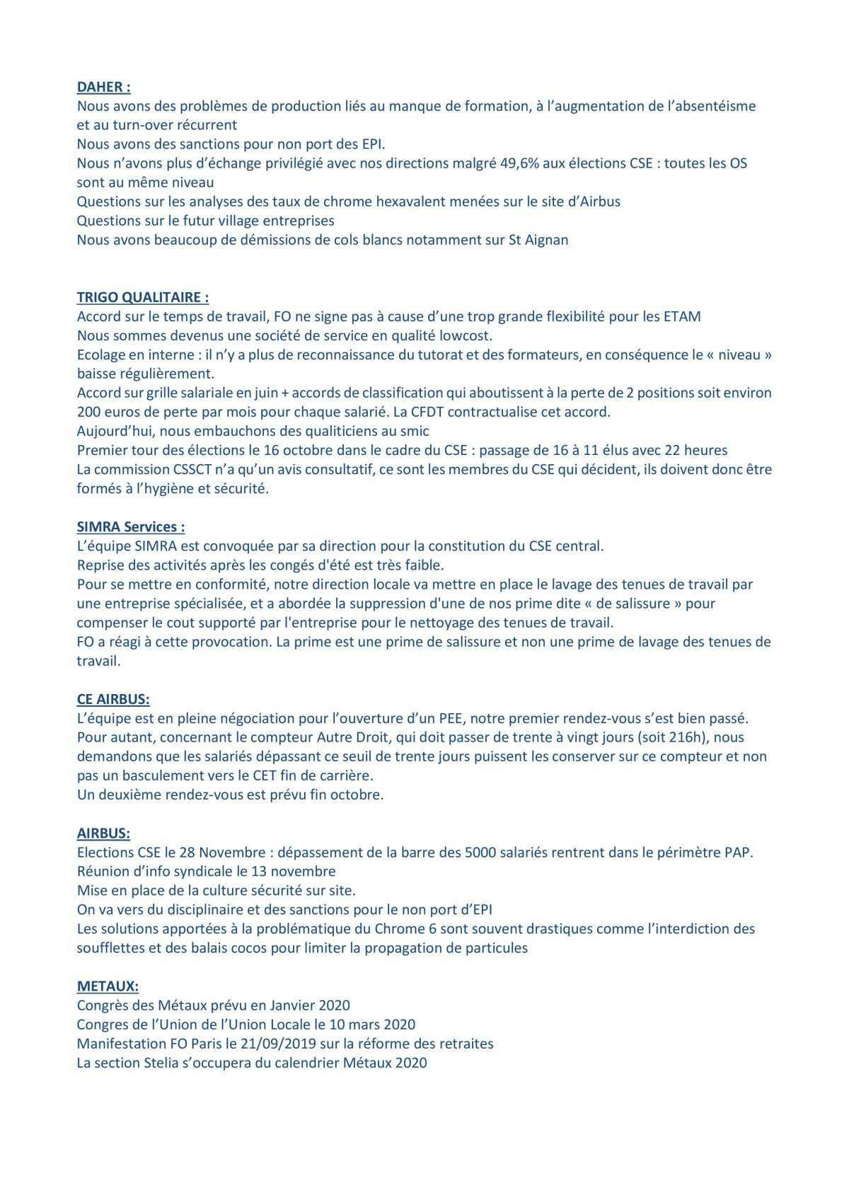Coordination des partenaires industriels d'Airbus du 17/09/2019