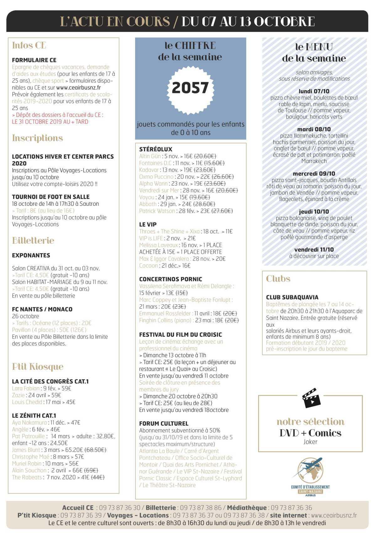 Infos CE / COOP semaine 41