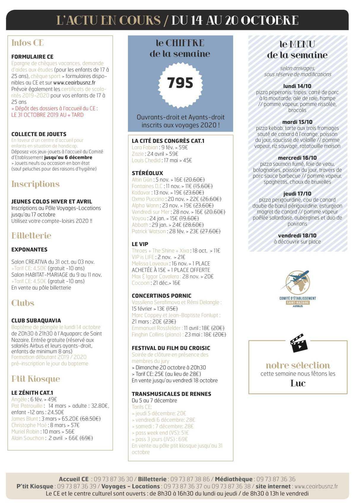 Infos CE / COOP semaine 42