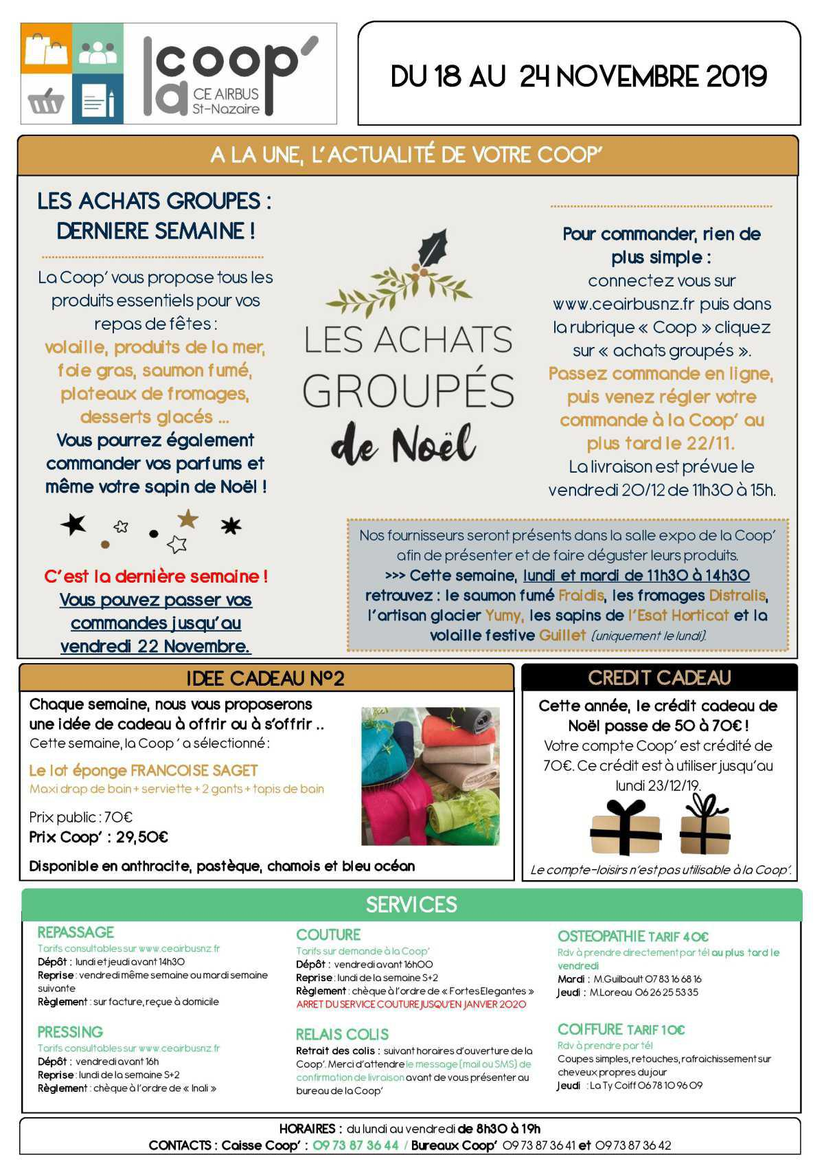 Infos CE / COOP semaine 47
